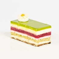 Pistachio, Raspberry and white chocolate Slice
